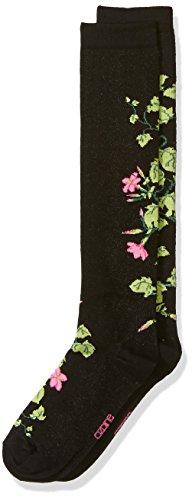 Floral Socks Knee High - Ozone Women's Jasmine Apothecary Florals Knee High Sock, black, 9-11