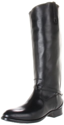 FRYE Women's Lindsay Plate Knee-High Boot,Black Smooth Full Grain Leather,8.5 M US