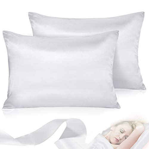 Leccod 2 Pack Silk Satin Pillowcase for Hair and Skin Cool Super Soft and Luxury Pillow Cases Covers with Envelope Closure