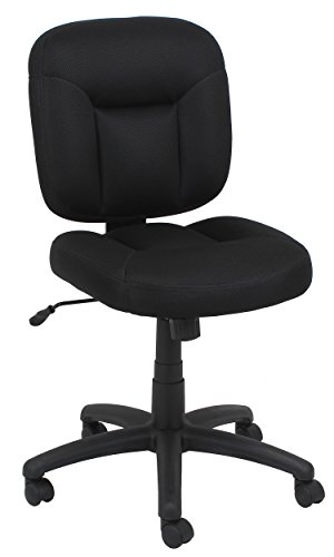 OFM Essentials Swivel Upholstered Armless Task Chair - Ergonomic Computer/Office Chair without Arms, Black (ESS-101-BLK)