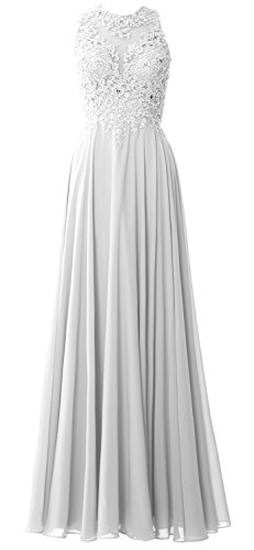 Gown Formal Party Chiffon Neck Elegant Lace Dress Prom Evening MACloth High White Long UPxpB8