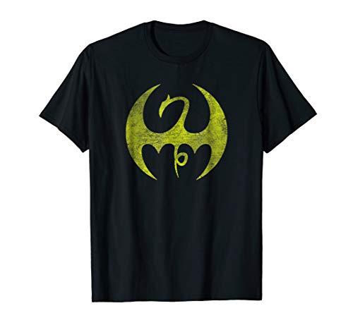- Marvel Iron Fist Distressed Dragon Logo Graphic T-Shirt