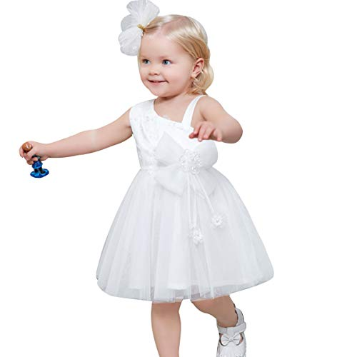 little dragon pig White Toddler Girl Dress 2T Flower Chiffon Princess Birthday Party Summer Dresses