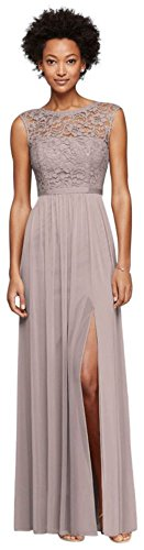 Long Bridesmaid Dress with Lace Bodice Style F19328, Cameo, 14