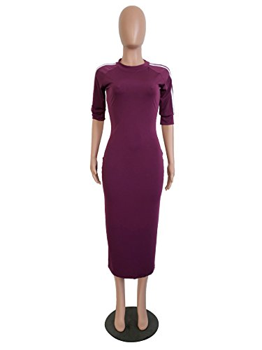 Long Pencil Sleeve Bodycon Crewneck Half Purple Remelon Striped Midi Casual Womens Tunic Dress 4I0wqxzAW8