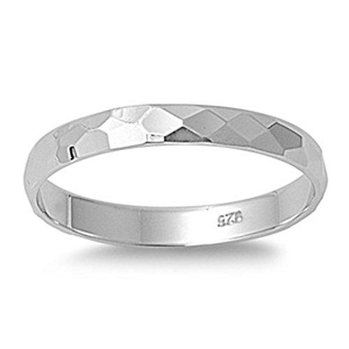 Sterling Silver Diamond-Cut Band Designer Wedding Ring Solid 925 3mm Size - Designer Edge Wedding Ring
