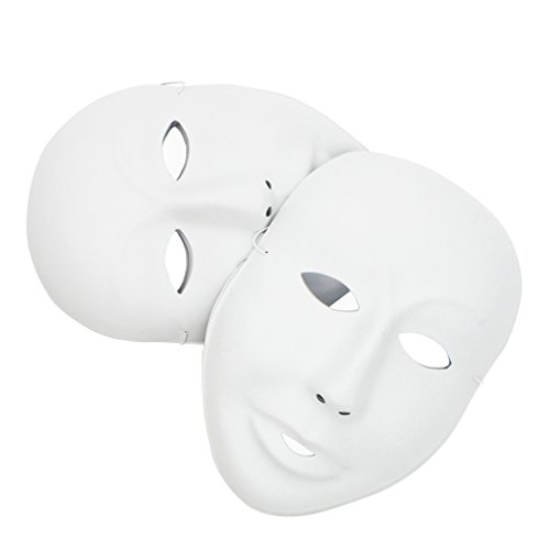 MICHLEY 12pcs DIY Full Face Cosplay Mask White (12pcs boy), Size 6 9 inch]()