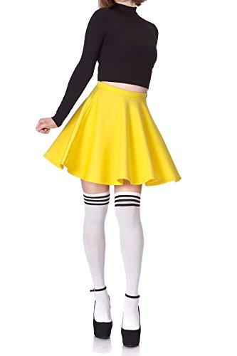 Flouncy High Waist A-line Full FlaYellow Circle Swing Dance Party Casual Skater Short Mini Skirt (XL, Yellow) -