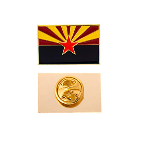 Arizona State Rectangle Flag Lapel Pin Enamel Made of Metal Souvenir Hat Men Women Patriotic