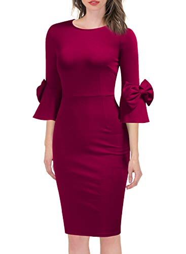 WOOSEA Women's 3/4 Bell Sleeve Pencil Shift Dress with Bow Detail Magenta (Dress Detail Pencil)