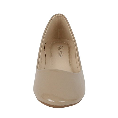 Bella Marie Stacy-11 Womens round toe patent leather slip on boat ballet flat shoes Taupe jCJnGl