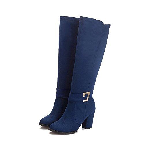 Allhqfashion Womens Smerlato Con Cerniera Tacco Tacco Alto Stivali Alti Blu