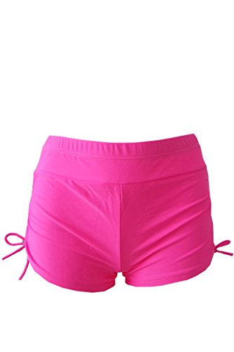 Pink-Queen-Womens-Waistband-Ruched-Side-Boardshort-Swimsuit-Bottom-M-3XL