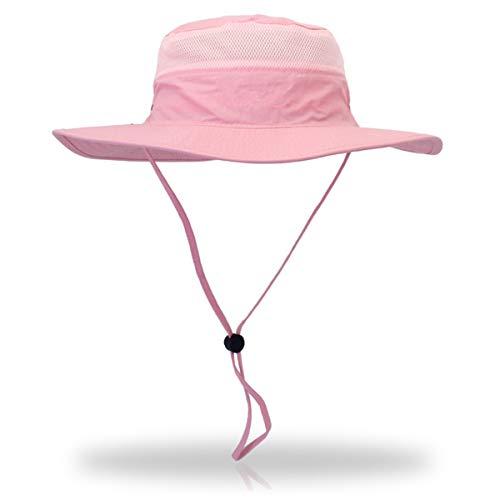 Duakrs Unisex Wide Brim Sun Hat,Outdoor UPF 50+ Waterproof Boonie Hat Summer UV Protection Sun Caps (Pink)