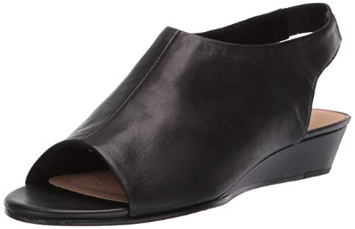 (CLARKS Women's Sense Silk Wedge Sandal, Black Leather, 8.5 M US)