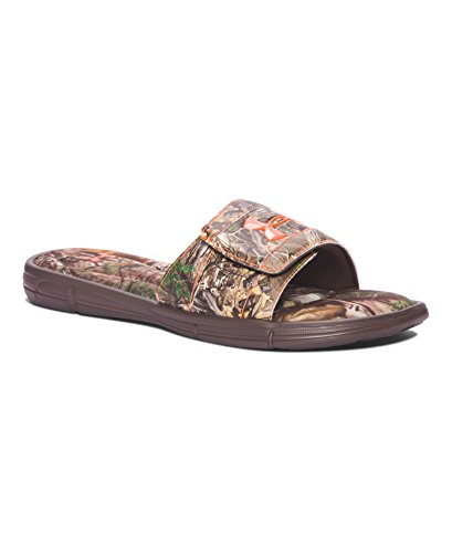 Under Armour Men's Ignite Camo V SL Slide Sandal, Cleveland Brown/Blaze Orange, 11 Medium US (Camo Foam)