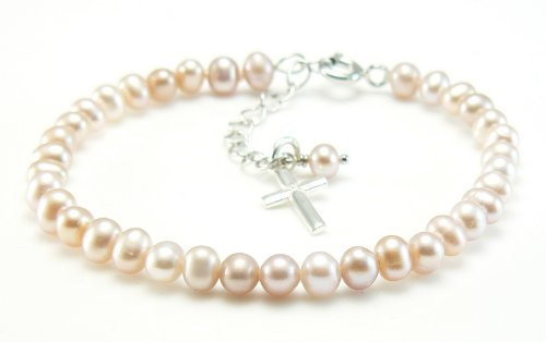Freshwater Pearl and Sterling Silver Cross Charm Bracelet - Girls Holy Communion Gift Occasions Emporium OE0228