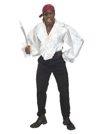 Satin Pirate Shirt for Men White Standard
