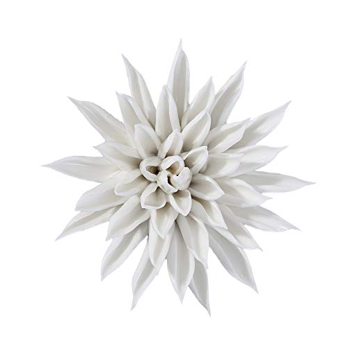 ALYCASO Wall Decoration for Living Room, Hang Ceramic Flower Starfish Wall Pediments, White, 8 cm -