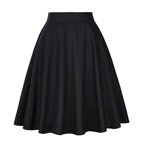 Taille Skater midi Floral Jupe Dames Pois 50 Jupes Haute Vintage s Taille Plus Black Jupes imprim d't Femme d't Femmes Noire HYF6qn1z