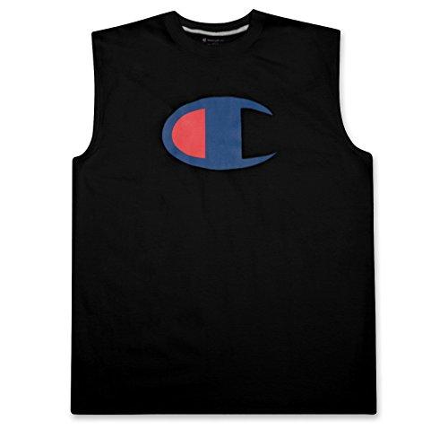 Logo Muscle Shirts (Champion Mens Big and Tall Sleeveless Jersey Tank Muscle Tee Shirt with Champion Logo Black 3X Big)
