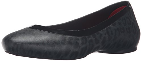 crocs Women's Lina Shiny Ballet Flat, Black/Black, 7 M US