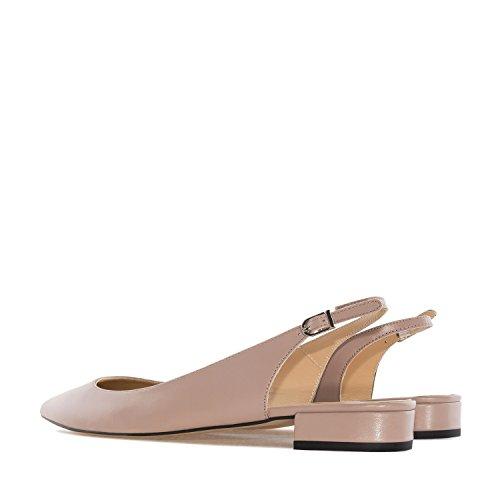 Andres Machado.sofia.fine Tå Slingback Ballerinasko I Leather.made I Spain.womens Store Størrelser: Us 10,5 Til 13 / Eu 42-45 Sienna Lær