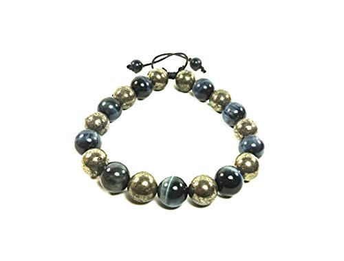 (AURAS BY OSIRIS - Handmade Pyrite And Tiger Eye Beaded Bracelet For Men and Women - Worlds Strongest Magnet Clasp - Posiitive Energy - Good Luck)