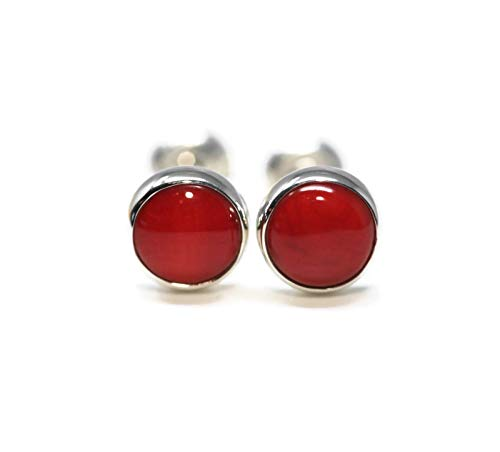 Coral Stud - Natural Red Coral 925 Sterling Silver 6mm Stud Earrings