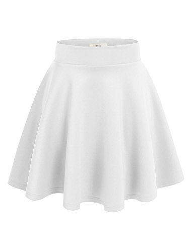 Simlu Women's A Line Flared Skater Skirt, White, X-Large