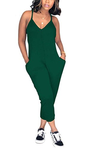 (Deloreva Women Casual Jumpsuit Sleeveless Strap V Neck One Piece Romper Harem Pants Playsuit Overalls Green M)