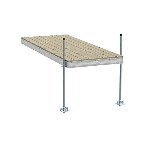 PlayStar Aluminum Stationary Dock Kit W/Resin Top - 4'X10' Strong, Lightweight Aluminum Stationary Dock 4'X10' with Resin Top ()