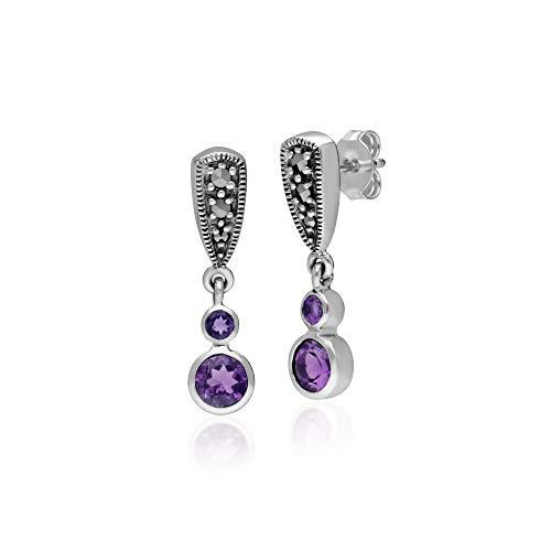 Gemondo 925 Sterling Silver Marcasite & Amethyst Drop Earrings