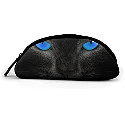WEEDKEYCAT Blue Eye Cat Semicircle Travel Cosmetic Bag Pen Pencil Portable Toiletry Brush Storage,Multi-Function Makeup Carry Case with Zipper