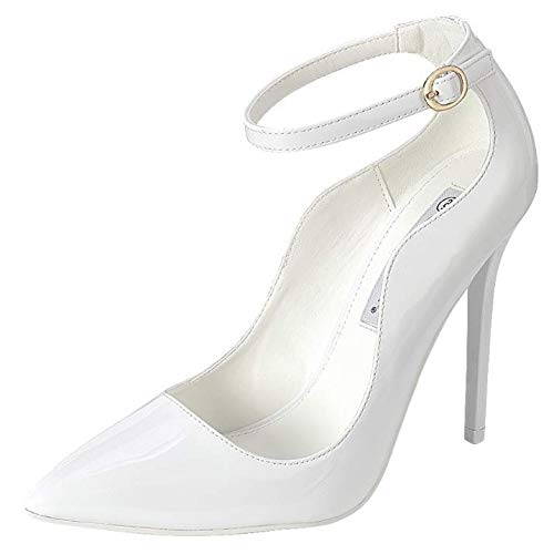 Womens Classic Elegance High Heel Pumps with Ankle Strap, White, 7