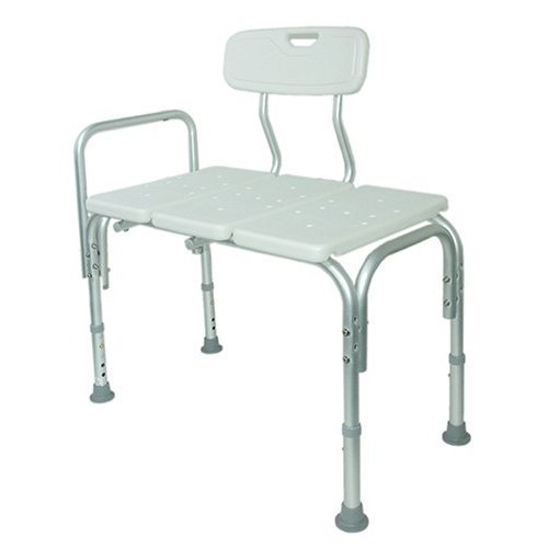Medline Transfer Bench with Back and Push - Benches Aluminum Bath Medline