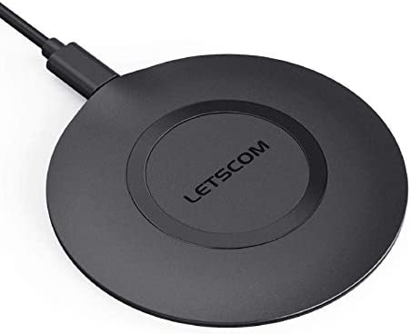 LETSCOM Ultra Slim Wireless Charger,Qi-Certified 15W Max Fast Wireless Charging Pad,Compatible with iPhone 12/11/11 Pro Max/XS Max/XR/XS/X/8/8+,Galaxy Note 10/Note 10+/S10/S10+/S10E (No AC Adapter)