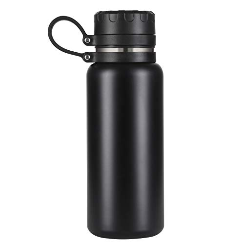 Stainless Steel Water Bottle with Double Wall Vacuum Insulated& Wide Mouth–Black LeakproofMetal Simple ModernWater Bottles 21oz for Sports, Outdoor, Office, Gym, Yoga – Keeps Hot & Cold - Sweatproof