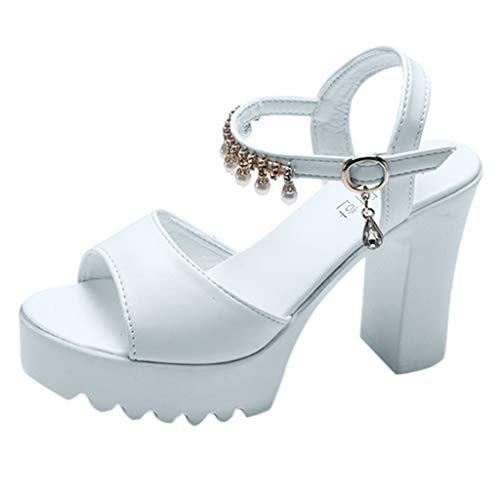 High Heels Sandals for Women,HOSOME Women Fish Mouth Rhinestone Platform High Heels Sandals Buckle Strap Shoes White