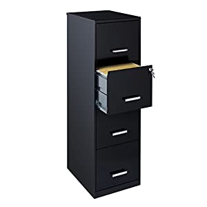 "Space Solutions 18"" 4 Drawer Metal File Cabinet, Black (21618)"