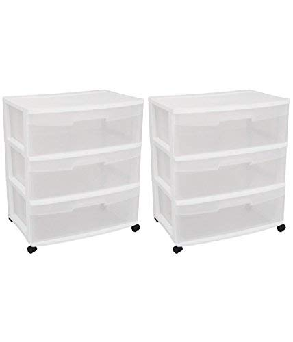 Sterilite 29308001 Wide 3 Drawer Cart, White Frame with Clear Drawers and Black Casters, 2-Pack