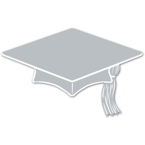 (Mini Grad Cap Cutouts (silver)    (10/Pkg) )