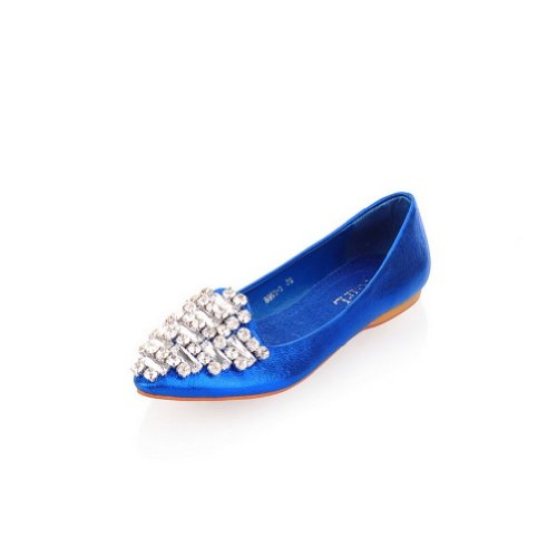 Fiber B with M Womens US Glass WeiPoot Diamond Toe Po2015ted Flats Blue 7 Closed Material Solid Soft Micro WXWaUFqZ