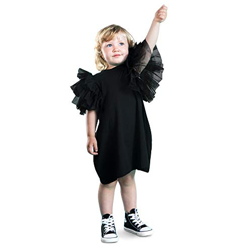 The Tiny Universe Girl Dress with Huge Layered Tulle Sleeves Wings - Perfect Party Dress for Special Occasions (Black Base, 2-4 y (104))