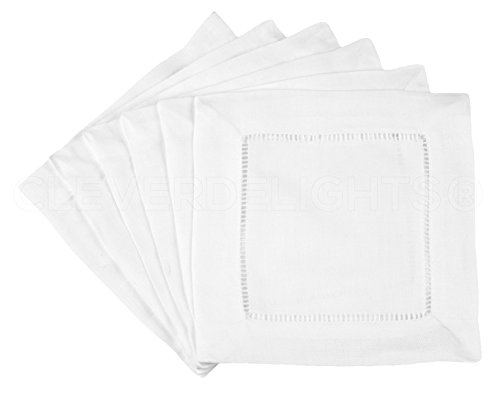12 CleverDelights White Hemstitch Cocktail Napkins - 6