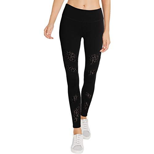 Jessica Simpson The Warm Up Womens Yoga Mesh Athletic Leggings Black L