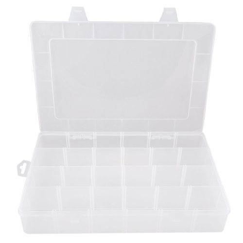 uxcell® Plastic 24 Compartments Electronic Components Jewelry Storage Box Case Container