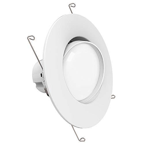 Sunco Lighting 5 Inch/6 Inch Gimbal LED Downlight, 12W=60W, 3000K Warm White, 800 LM, Dimmable, Adjustable Recessed Ceiling Fixture, Simple Retrofit ()