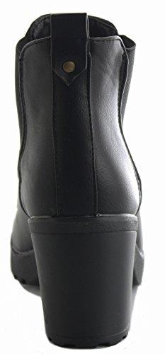 WOMENS LADIES CUBAN WESTERN MID HIGH HEEL BOOTIES HEELED BLOCK COWBOY WINTER ANKLE BOOTS SIZE 3-8 Style 44 - Black nr7Mg3