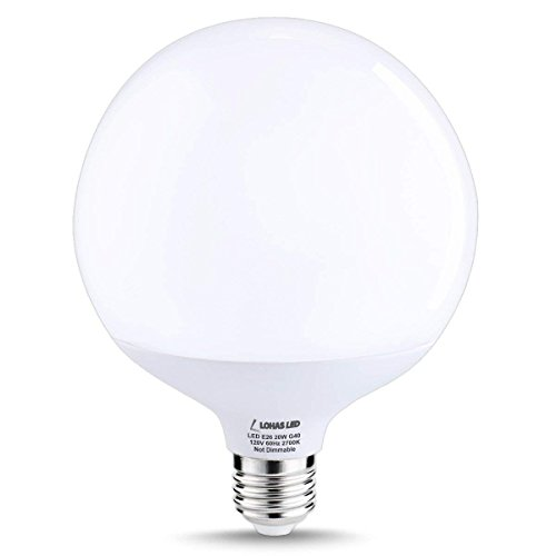 (LOHAS Globe Light Bulbs G40 LED, 200W Equivalent Edison LED Globe Bulb(20W), Warm White 2700K, E26 Garage Warehouse Brightness Light Bulb, 270 Degree Beam Angle, Not-Dimmable)